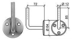 Handlauftraeger Wandplatte d=64mm