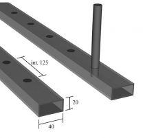 Rechteckrohr einseitig gelocht, 30x20x2,0mm, Lochung 12x12mm